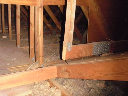 Attic truss that was cut.