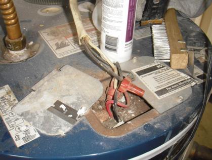 Improper wiring at water heater.